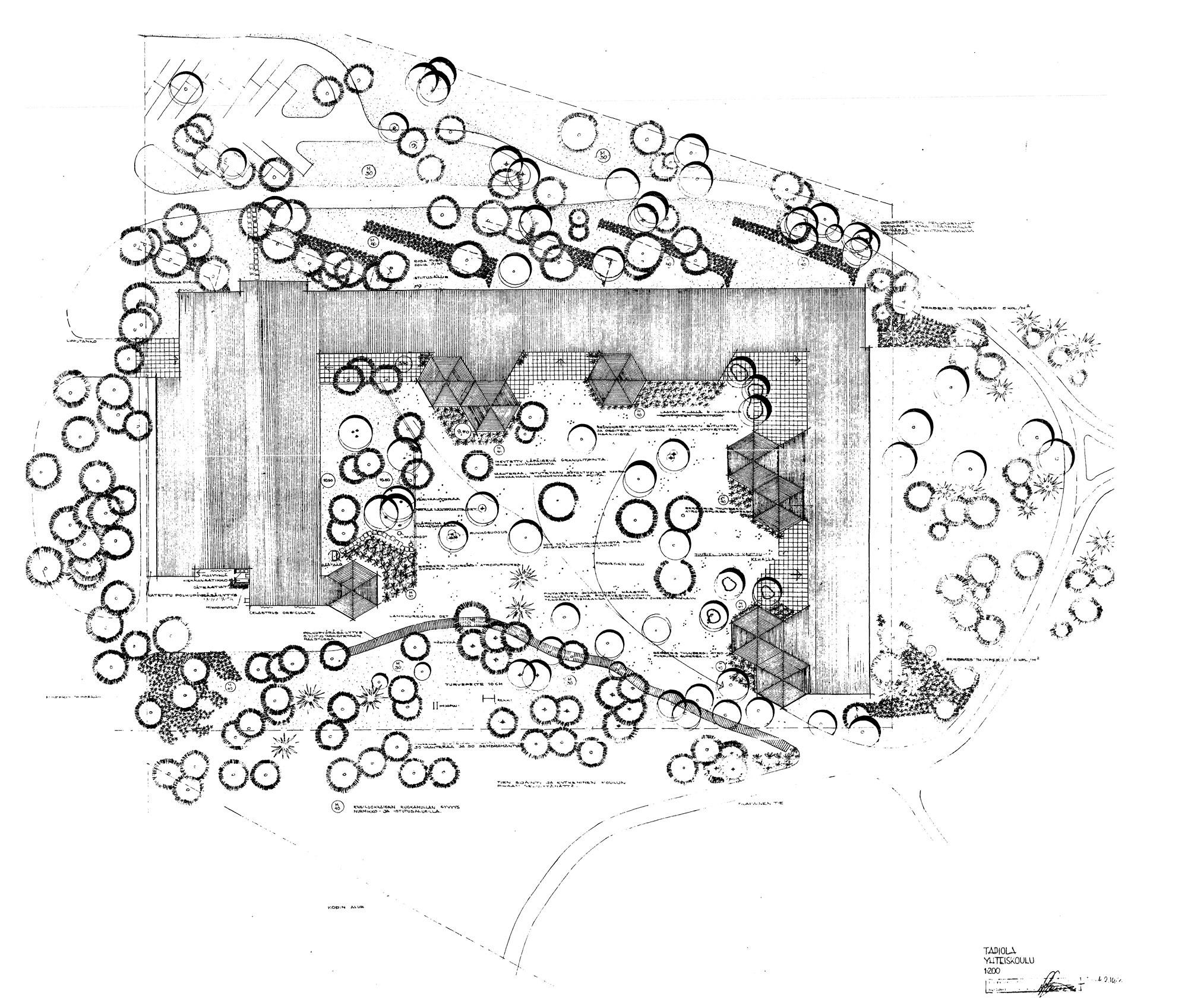 Tapiolan yhteiskoulu, Asuntosäätiön puutarhatoimisto, C.J. Gottberg